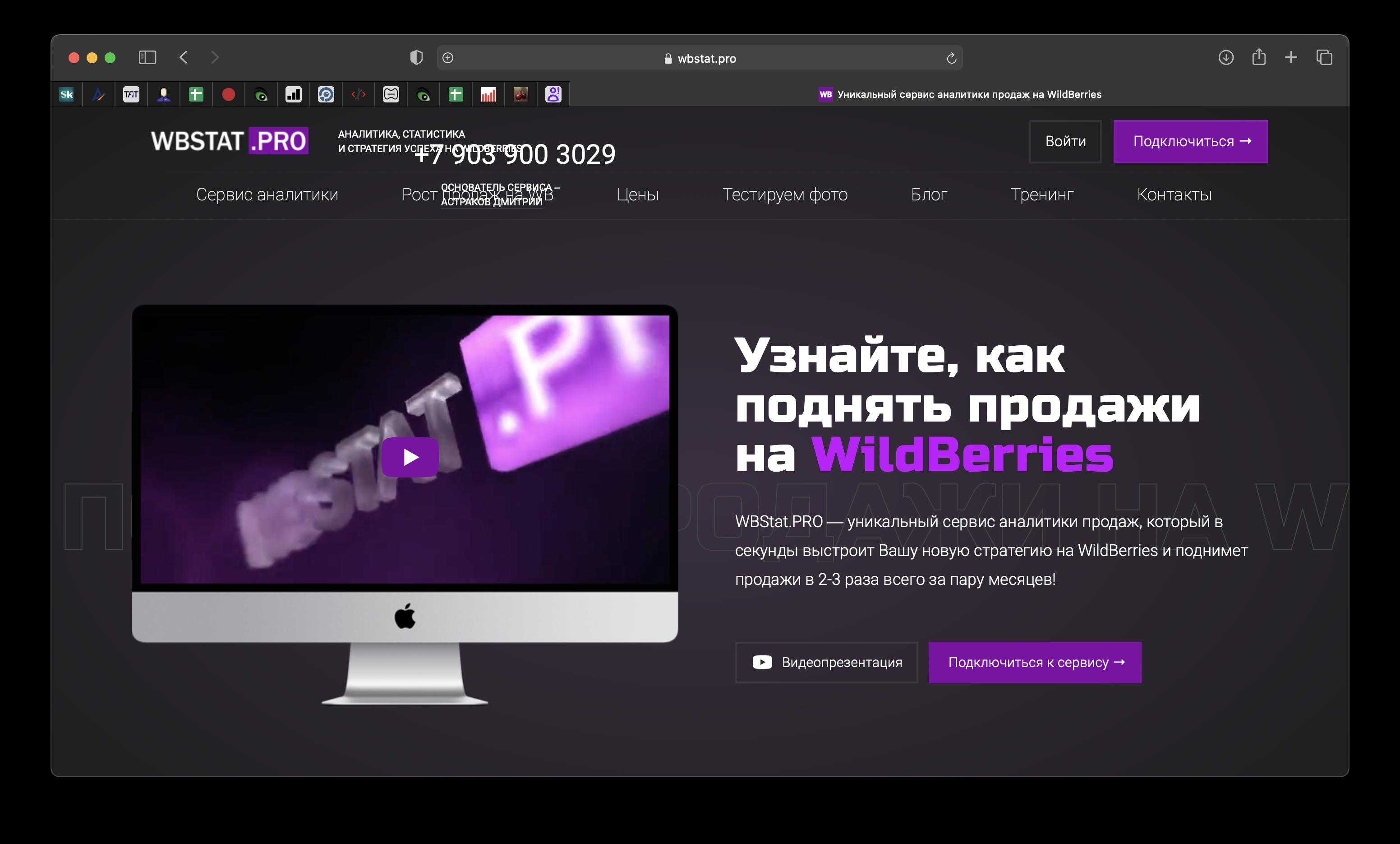 сайт сервиса wbstat
